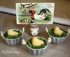 Beautiful Easter or Spring decorations. tart tins