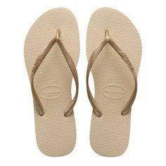 1b375660bd33 Sandalias Havaianas Slim Lisa Tamanho 33-34 Cor Areia-Dourado Claro