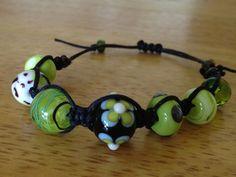 Glass Bead Shambala Style Bracelet by LoveThatLeather on Etsy, $36.00