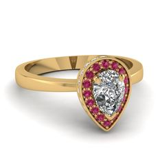 Pear Shaped Diamond Engagement Rings With Pink Sapphire In 18K Yellow Gold | Pear Coronet Ring | Fascinating Diamonds