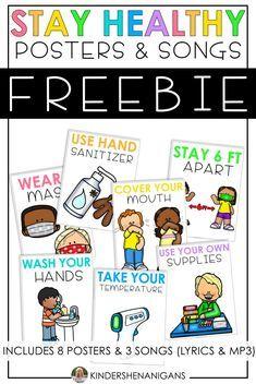 Stay Healthy Posters Social Distancing Songs Freebie School Nurse Posters Teaching Printables School Activities