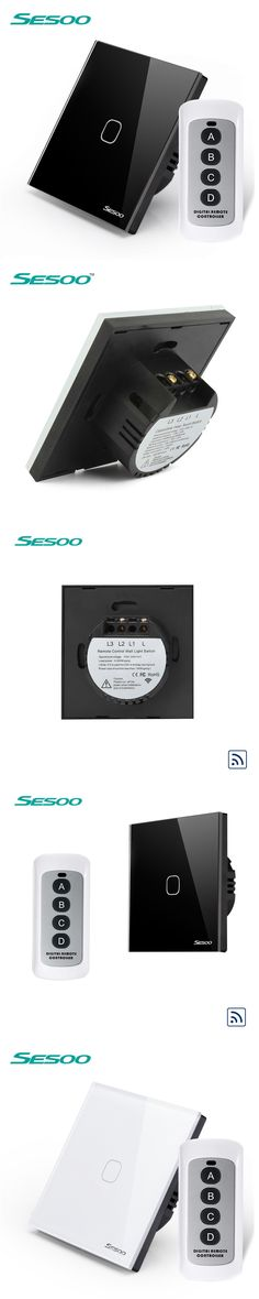 EU Type SESOO Wireless Touch Remote Control Smart Touch Switch 1 gang 1 Way, RF433 Wall Switch, Glass Panel, 1 Year Warranty