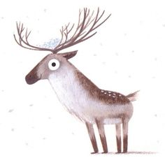 interesting exaggeration of the head and neck to make the deer cuter.