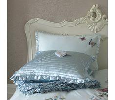 Duck egg blue bed linens with embroidered butterflies. So beautiful! Duvet Bedding, Blue Bedding, Linen Bedding, Bedding Sets, Bed Linens, Luxury Bedspreads, Bedroom Black, Black Bedrooms, Black Floor