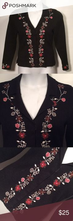 """Sz M Christopher & Banks Black Floral Sweater Snap Snaps, not buttons, gorgeous hand embroidered flowers. Pretty awesome garment 😁 Armpit to armpit 20""""+stretch  Length from shoulder to hem 22"""" Sleeves 24"""" V neck with 7 Christopher & Banks Sweaters V-Necks"""
