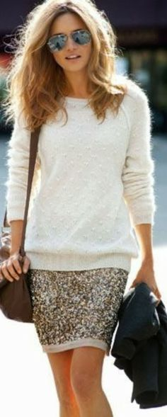 Furry White Sweater With Twinkling Short Skirt