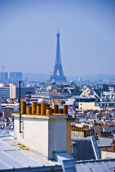 Eiffel Tower roof view, Paris, France