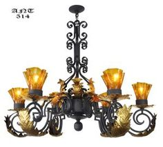 Gothic-Style-Antique-6-Arm-Black-Iron-Steel-Chandelier-w/-Gold-Detail-(ANT-514)