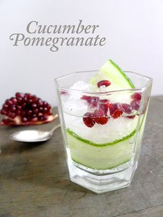 Festive color palette! Cucumber Pomegranate Cocktail | Signature Cocktail from wedding wellness expert http://carlenethomas.com via http://limnandlovely.com