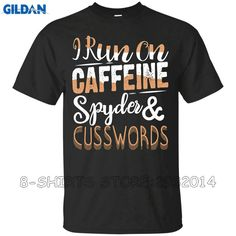 Gildan Funny T Shirts For Sale Short Sleeve Premium O-Neck I Runer On Caffeine Spyder Cuss Word Tee Shirts For Men #Affiliate