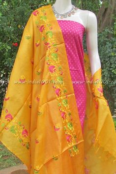 Elegant Tussar Silk Dupatta with Embroidery