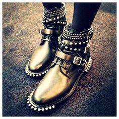Rock n' roll in these Yves Saint Laurent motorcycle boots. #studs #spikes #elysewalker