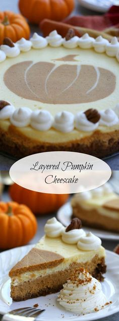 Layered Pumpkin Cheesecake recipe has silky layers of vanilla and pumpkin cheesecake in the most divine gingersnap pecan crust. Sure to become a Holiday tradition.