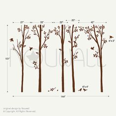 Tree Wall Decals Wall Stickers  spring trees with birds by NouWall, $95.00