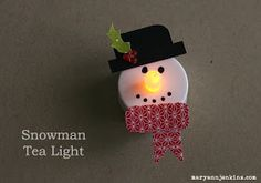 Snowman Tea Light -easy wintertime craft!