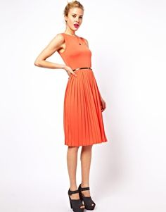ASOS Sleeveless Midi Dress With Pleated Skirt And Belt