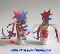 Patriotic Centerpiece Kids Craft  Oh the grand red, white and blue! Have your children create this Patriotic Centerpiece craft and display it for both Memorial Day and for The 4th of July.