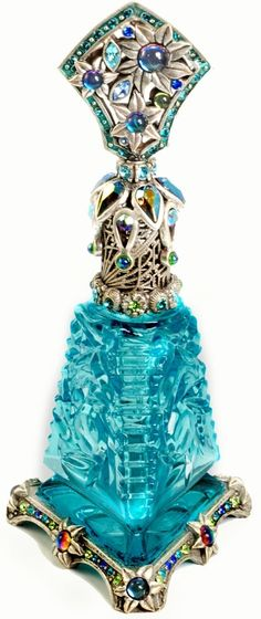 Turquoise Glass Art Deco Jewelled & Silver Metal Perfume Bottle w/Ornate Collar, Stopper Top & Base ✿≻⊰❤⊱≺✿.