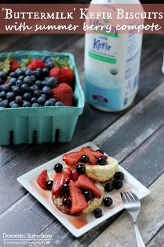 Homemade, healthy biscuits & a berry compote recipe by #KefirCreations @allysonreed  #SoFab #shop