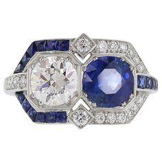 1920 Art Deco Sapphire Diamond Platinum Ring