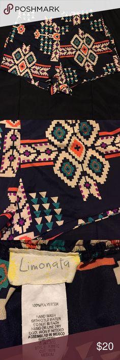 NWOT Navy Tribal Shorts Navy blue tribal shorts. Never worn. Size medium. 100% polyester. Super cute, high waisted. Shorts