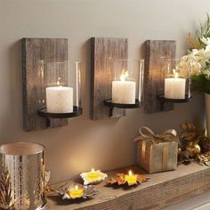 Living Room decor - rustic farmhouse style.  Wall decor candles | Community Post: How To Create Rustic Farmhouse Decor