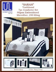 Sarah 7-Piece Foulard Embroidery Comforter Set, Queen, Navy/White by Sarah. $71.14. Navy and White Color. Modern Decorative Comforter Set. 100-Percent polyester. Machine Wash Safe Follow Instructions. Long Lasting. Sarah-7 pc Foulard Embroidery Comforter set-Queen Comf 92x96, 2 stnd shams, skirt, 3 decorative pillows. color Navy/White, 4 case pack.
