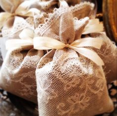 LAVANDER SACHET Handmade with antique laces natural by LaClariere