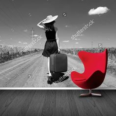 Fotobehang Lonely Girl (zwartwit)   Maak het jezelf eenvoudig en bestel fotobehang voorzien van een lijmlaag bij YouPri om zo gemakkelijk jouw woonruimte een nieuwe stijl te geven. Voor het behangen heb je alleen water nodig!   #behang #fotobehang #print #opdruk #afbeelding #diy #behangen #meisje #vrouw #reis #reizen #zwartwit