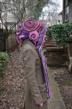 Custom Made For You Freeform Crochet Hooded Scarf // Ooak Handmade Spirit HoodNote to self: learn how to free-form crochet! Freeform Crochet, Crochet Motif, Irish Crochet, Crochet Stitches, Free Crochet, Knit Crochet, Crochet Hooded Scarf, Crochet Scarves, Crochet Clothes