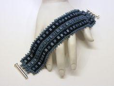 Denim Blue Cube and Seed Bead Beadwoven Bracelet Cuff $45.00
