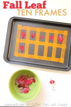 This fall leaves ten frame is one hands-on learning activity that combines math concepts with Ten Frame Activities, Autumn Activities For Kids, Kids Learning Activities, Spring Activities, Hands On Activities, Preschool Activities, Teaching Kids, Apple Activities, Counting Activities