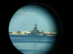 USS Missouri from a scope on the USS Bowfin