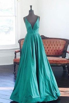 prom dresses,New Arrival simple v neck green long backless prom dress, formal dress
