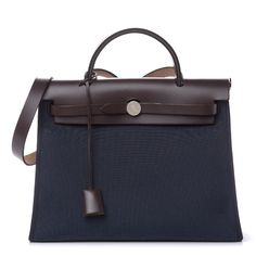 HERMES Vache Hunter Toile Herbag Zip 31 PM Bleu Marine Ebene 482969 Luxury Bags, Luxury Handbags, Herbag Hermes, Shoulder Strap, Shoulder Bags, Hermes Kelly, Brown Leather, Pouch, Zip