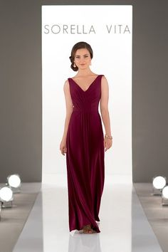 Boho bridesmaid dress idea - This boho-inspired, light-as-air, flowing chiffon bridesmaid dress creates an elegant sheath silhouette while the delicate, criss-cross ruching adds visual interest to the front of this V-neck bodice.  Style 8862  by Sorella Vita. See more Sorella Vita dresses by @essensedesigns on @weddingwire!