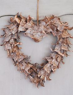 curled birch bark adds real beauty to this rustic heart shaped wreath Christmas Hearts, Christmas Wreaths, Christmas Decorations, Christmas Time, Christmas Ideas, Christmas Ornaments, Holiday Decor, Birch Bark Crafts, Colorful Roses