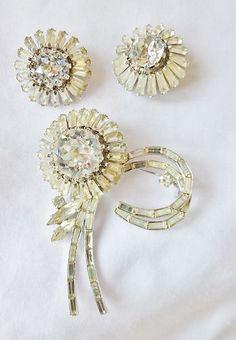 Vintage Austria Magnificent Rhinestone Pin Brooch & Earrings Set