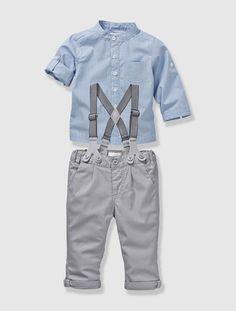 Conjunto camisa + calças, para bebé menino