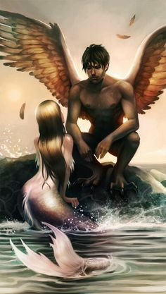 I love this picture. My boyfriend is a Gemini so his element isair, therefore he soars through the sky. As for me I am a cancer my element is water I create my own currents and waves in the sea of life. He's my angel and I'm his mermaid