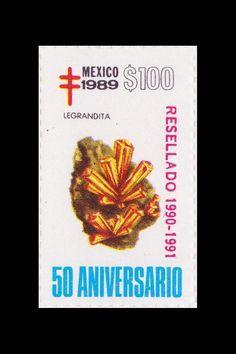 Sello: Minerales. Pais: México. Año: 1989 - 50 aniversario. Valor 100 pesos mexicanos (1 peso mexicano = 0,0452 €). Descripción: LEGRANDITA .