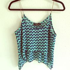 //Flowy green and dark blue tank// Very light weight, very flattering on! Straps are gold chains Tops Tank Tops