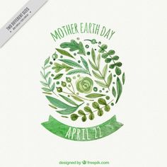 Watercolor mother earth day background with decorative vegetation Free Vector