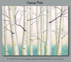 Two piece canvas print set of birch tree landscape painting by Denise Cunniff. Colors include shades of aqua, teal, turquoise, yellow, grey, black, and white. View more info at https://www.etsy.com/listing/527006510