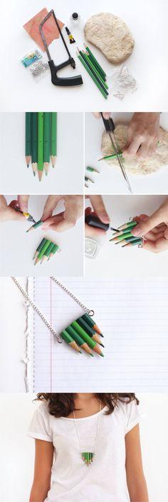 Collar DIY con lápices - Vía curlymade.blogspot.com