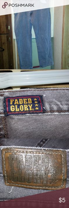 Mans Faded Glory Gray Jeans Some Rips 38x30 Actual Pictures of Mans Faded Glory Gray Jeans Some Rips 38x30 .    Make an OFFER - I will either say YES or make a counter offer.  I (slscsi) have 1200+ Positive Transactions on eBay.  Products are in Excellent Condition & Free of Dirt, Holes, Rips or Stains. Faded Glory Jeans