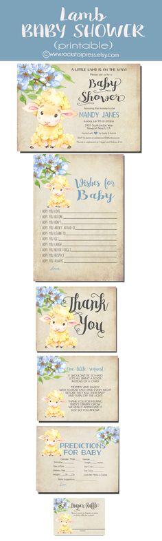 Boy Lamb Baby shower Printable Download Ideas