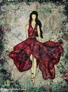 """""""Fashionista""""  A mixed media painting about a beautiful strong woman who knows that beauty is not just in her appearance but in the confident way she carries herself.  She empowers other woman to embrace their own unique strengths. Abstract folk art by Canadian inspirational artist #JanelleNichol."""