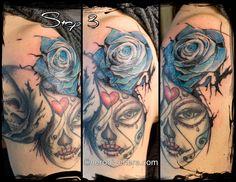 #tattoo #tatuaggio #cheyenne #blu #rose #watercolor #skull #teschio #santa #muerte