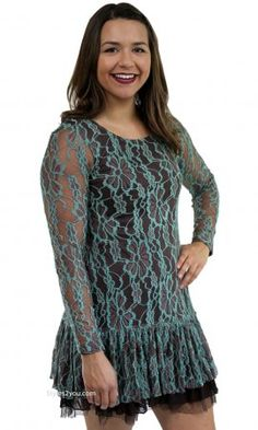 Annie Long Sleeve Lace Shirt Dress In Coffee Sacred Threads Top